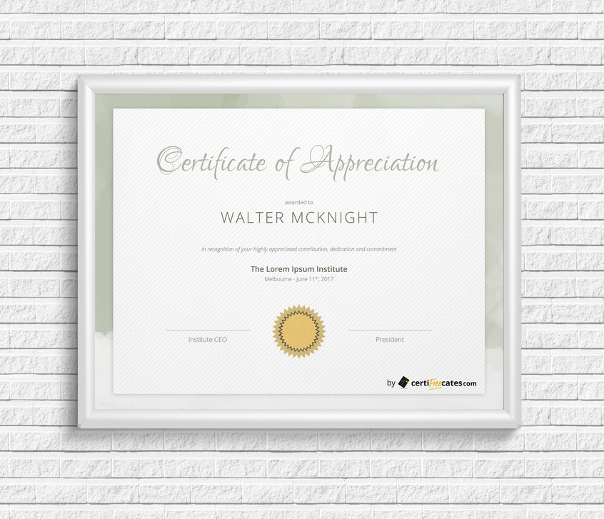 elegant certificate of recognition