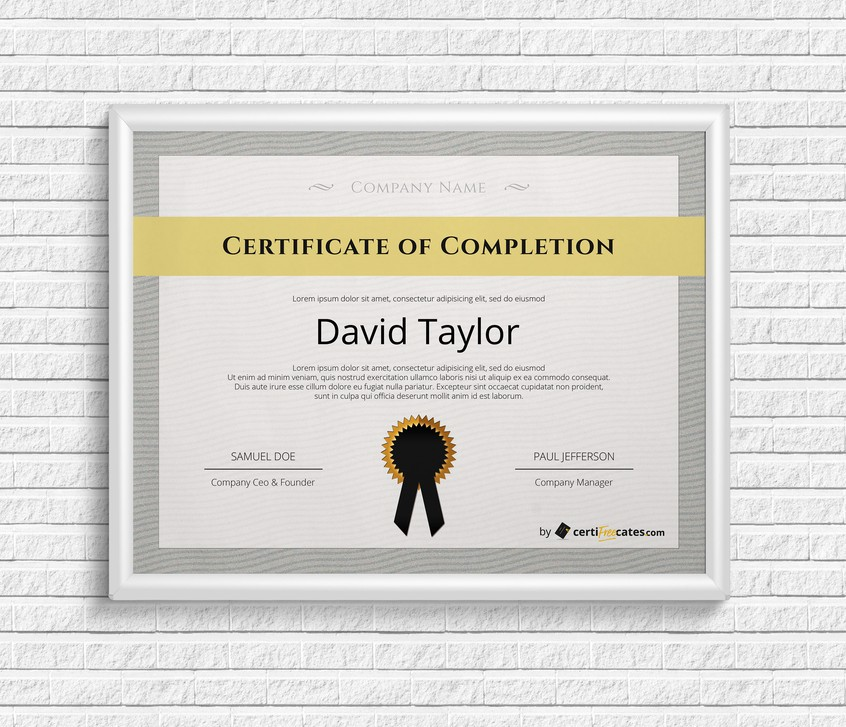 Free completion certificate templates certifreecates free certificate of completion yelopaper Image collections
