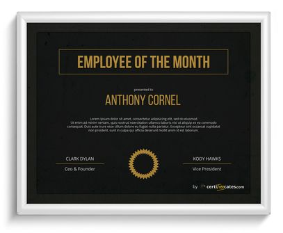 dark employee of the month certificate