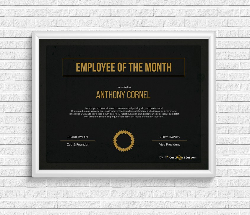 Free Employee Of The Month Certificate Templates Certifreecates