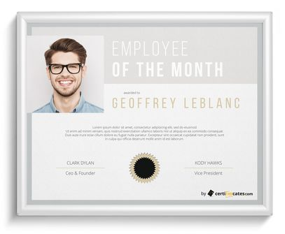 employee of the month award - Certificate Of Employee Of The Month Template