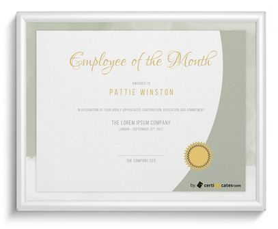 employee of the month certificate - Certificate Of Employee Of The Month Template