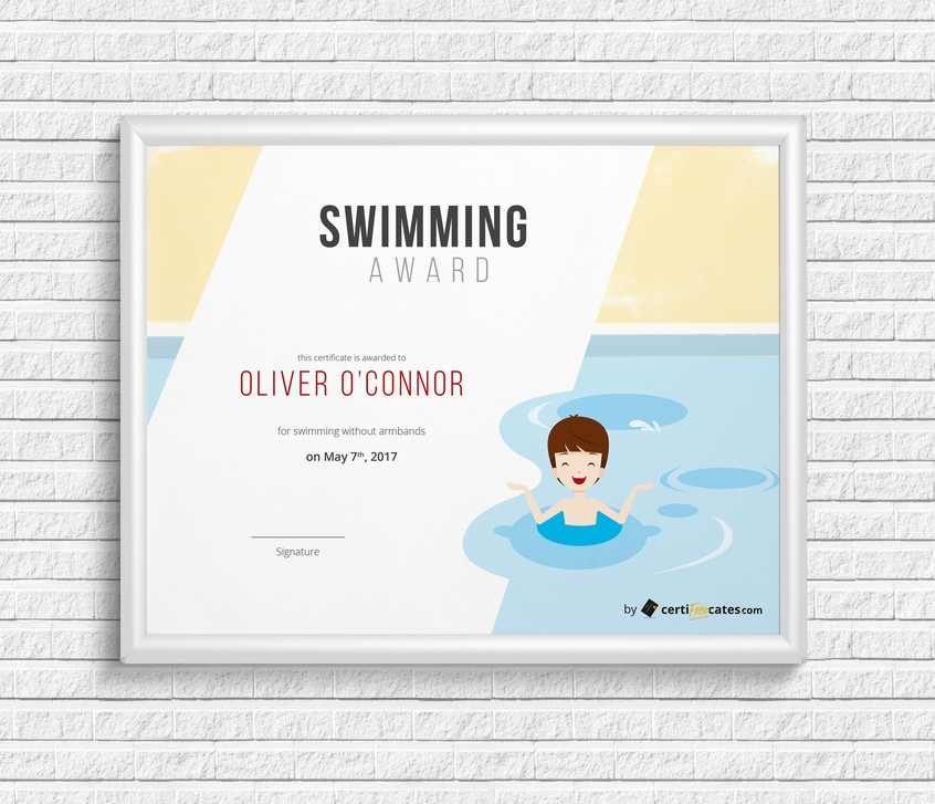 swimming award certificate